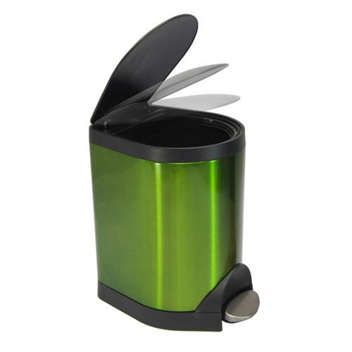 仁泰正品带缓降脚踏式垃圾桶5l,桶身:410沙光喷透明不锈钢(0.
