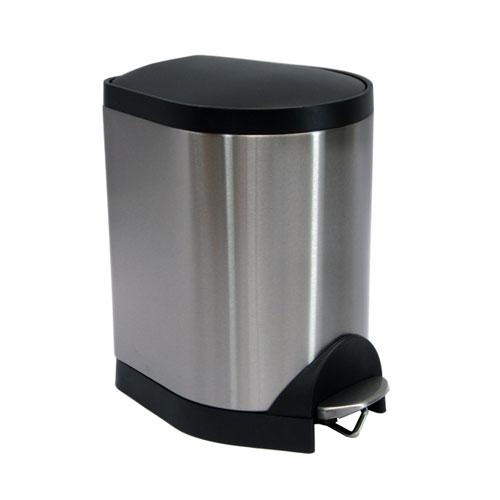 仁泰正品带缓降脚踏式垃圾桶8l,桶身:410沙光喷透明不锈钢(0.