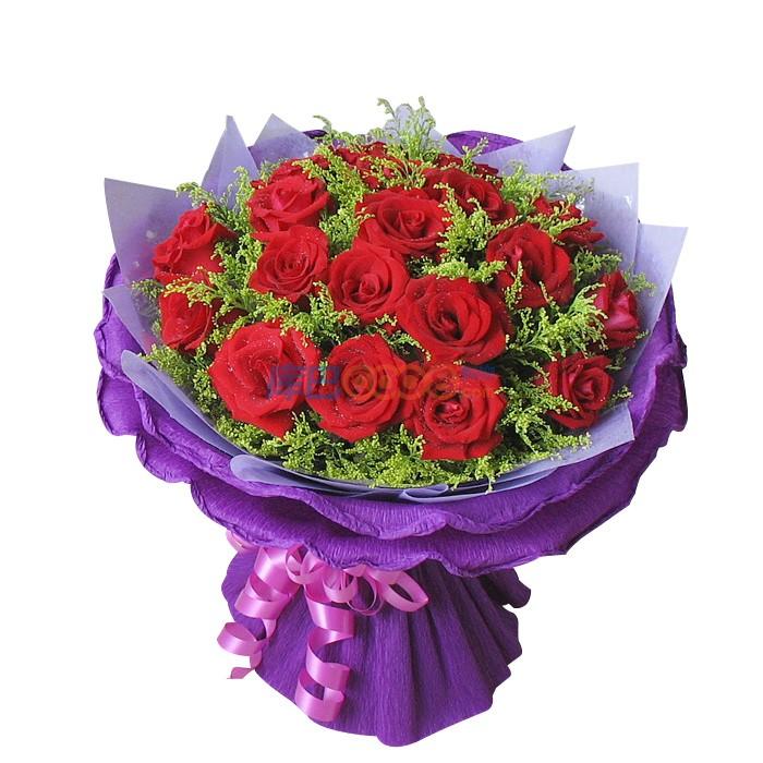 花材] 红玫瑰19枝,配材适量,绵纸内,外紫色卷边纸包装圆形花束.
