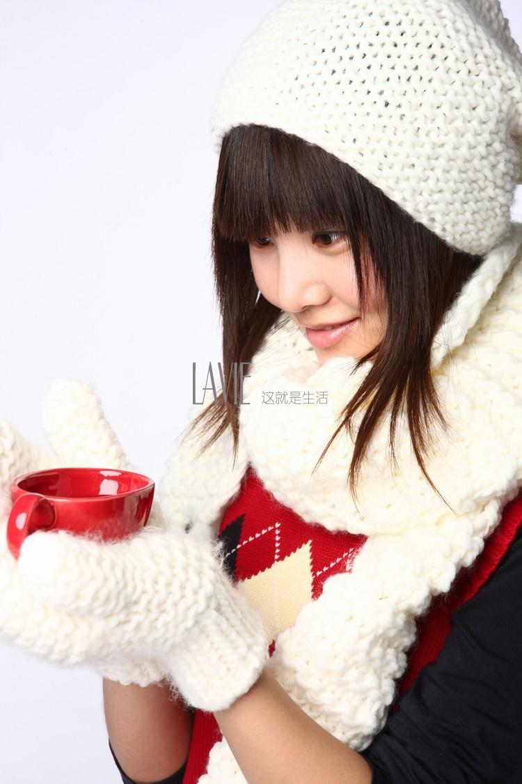 乐为乐为毛线帽子女士冬天冬季针织帽子韩国韩版可爱保暖冬帽女帽l10f
