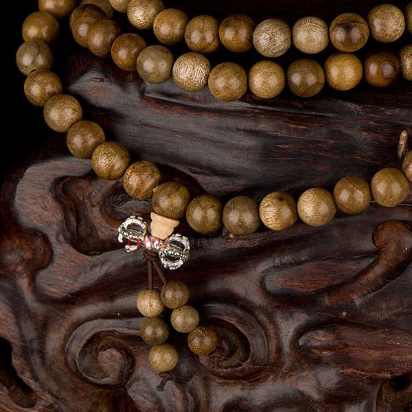 【御灵珠宝】天然金丝楠木108水沉念珠佛珠手链 8mm
