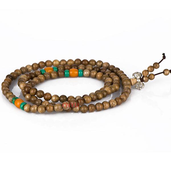【御灵珠宝】印度古金丝楠木108水沉佛珠手链 6mm