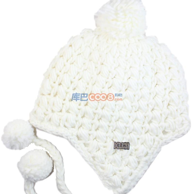 deniso帽子冬帽女士手工编织帽护耳帽针织帽子ds-1127