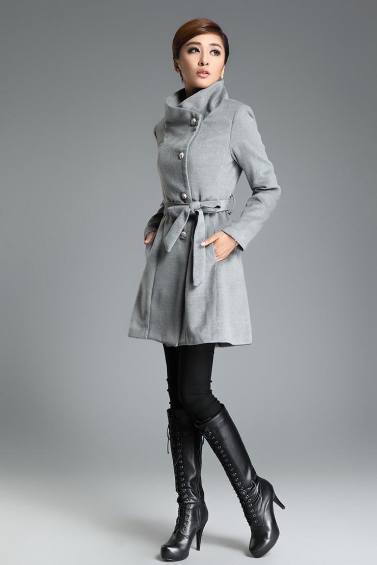 扣时尚高雅腰带毛呢大衣