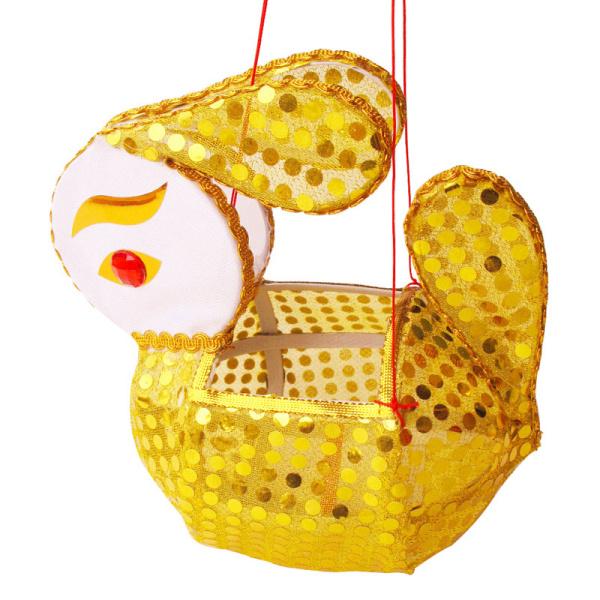 传统纯手工兔子灯笼 元宵花灯中秋儿童玩具 手提金色亮片款
