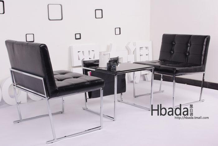【黑白调】高档欧式双人沙发椅子 现代休闲时尚简约椅
