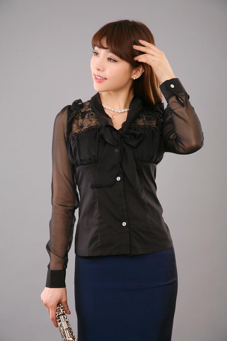 新款系带拼接蕾丝雪纺修身长袖女士衬衫c011