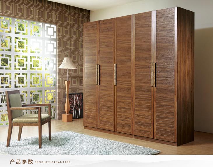 中式简约橡木实木五门整体衣柜图片