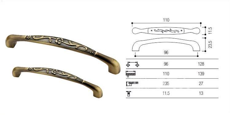 伊可夫橱柜门抽屉柜门拉手欧式仿古铜中式款式青古铜拉手(6136 128)