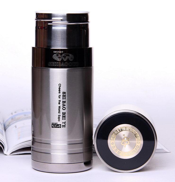 银杏世宝 博士杯 不锈钢钢外壳骨瓷内胆 本色 保温杯图片