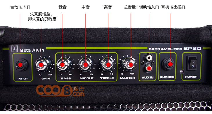 贝塔斯瑞bp20 电贝斯音箱 20w 练习音箱 音响