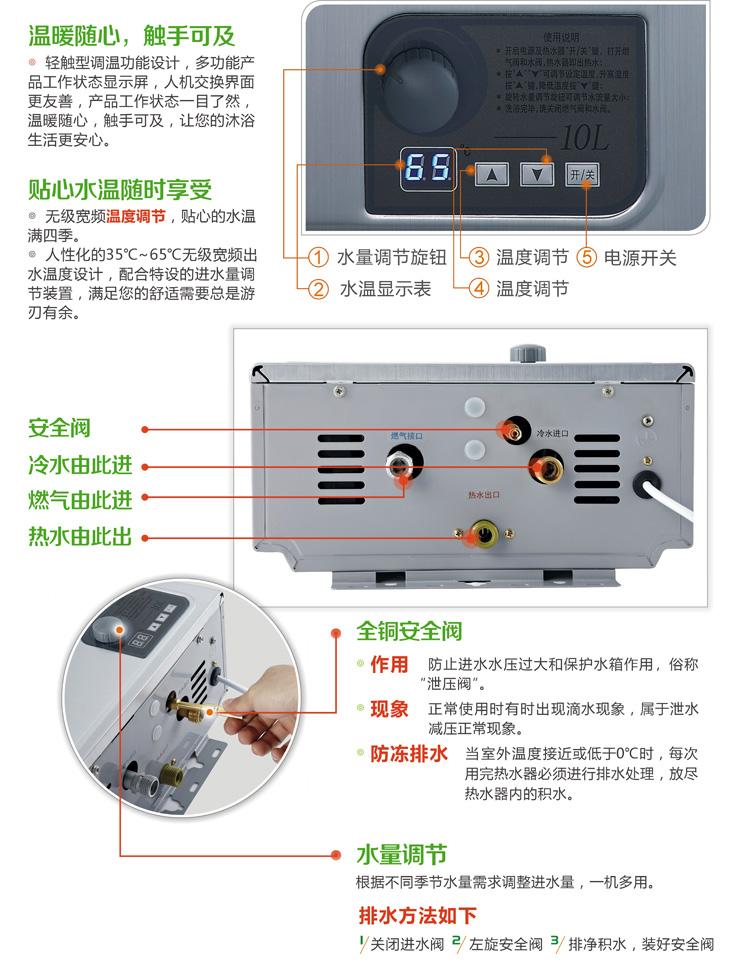 万和(vanward) jsq20-10p1 10升 燃气热水器(天然气)图片