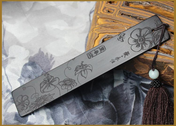 皇城木韵实木礼品红木书签黑檀木单签单面雕刻可选择流苏送领导长辈
