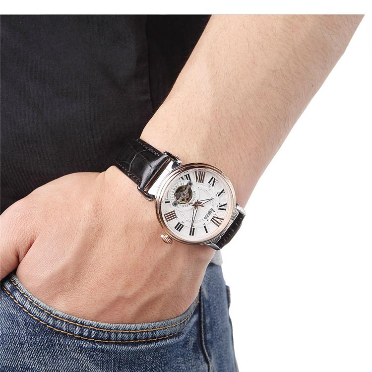 爱彼特黑色表带镂空细节复古表盘男士自动机械腕表 ar