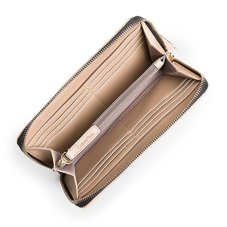 精品女士时尚长款钱包 设计风格简约时尚 经典logo印花设计 拉链