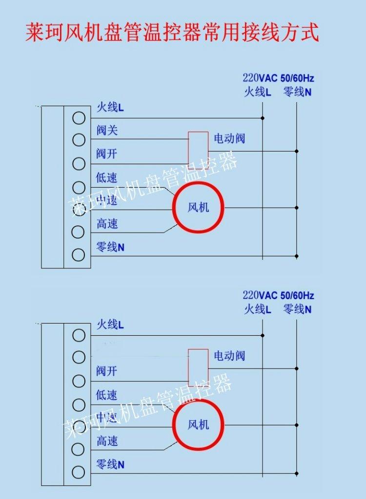 莱珂k202中央空调液晶温控器 蓝色背光风机盘管 温度控制器 控温开关