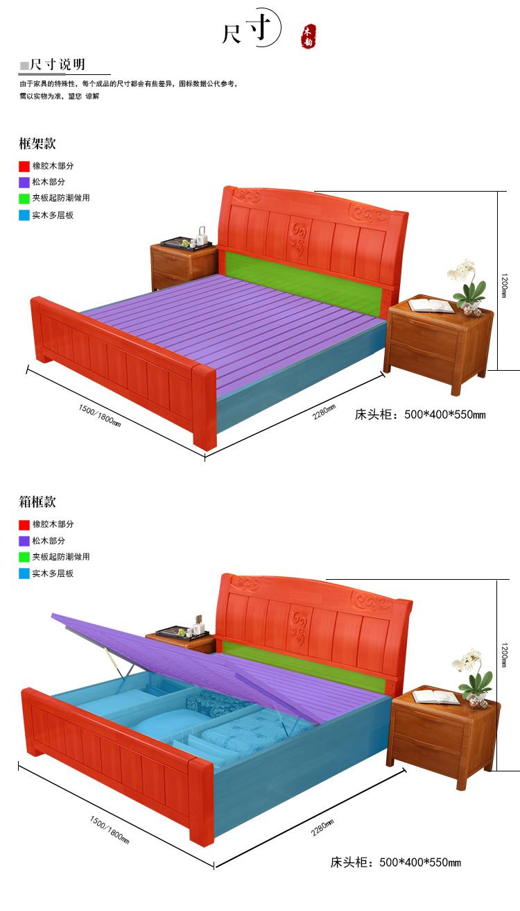 8米 1.5米现代中式木床 婚床(1.5m*2.0m 箱框结构大抽屉+棕垫)