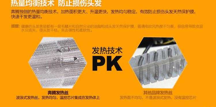 奔腾(povos)专业电吹风机ph9082(二档风速/三档热力设计,2200w超大