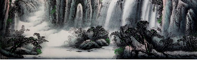 张平 山乡春韵3> 国画 山水画 水墨写意 山水 树木 横幅