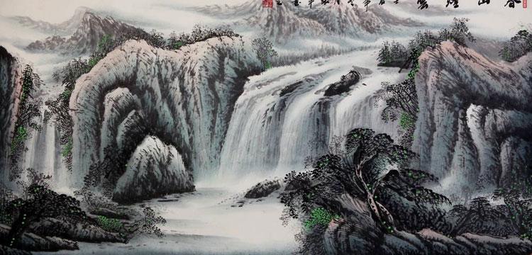 张平 春山烟云3> 国画 山水画 水墨写意 山水 树木 横幅