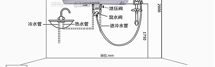 skg 5009储水式下潜式加热管电热水器 60l【入户安装】2000w功率超长