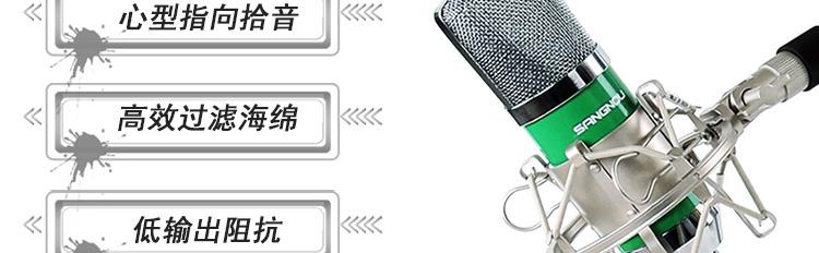 双诺(sangnou)z08专业电容有线麦克风(绿色)